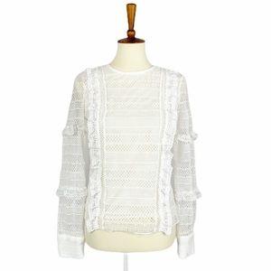 Aqua Ruffle Lace White Blouse